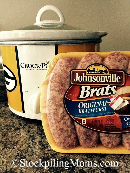 Crockpot Sausage with Peppers & Onions is very tasty! This is a slow cooker freezer recipe must pin!