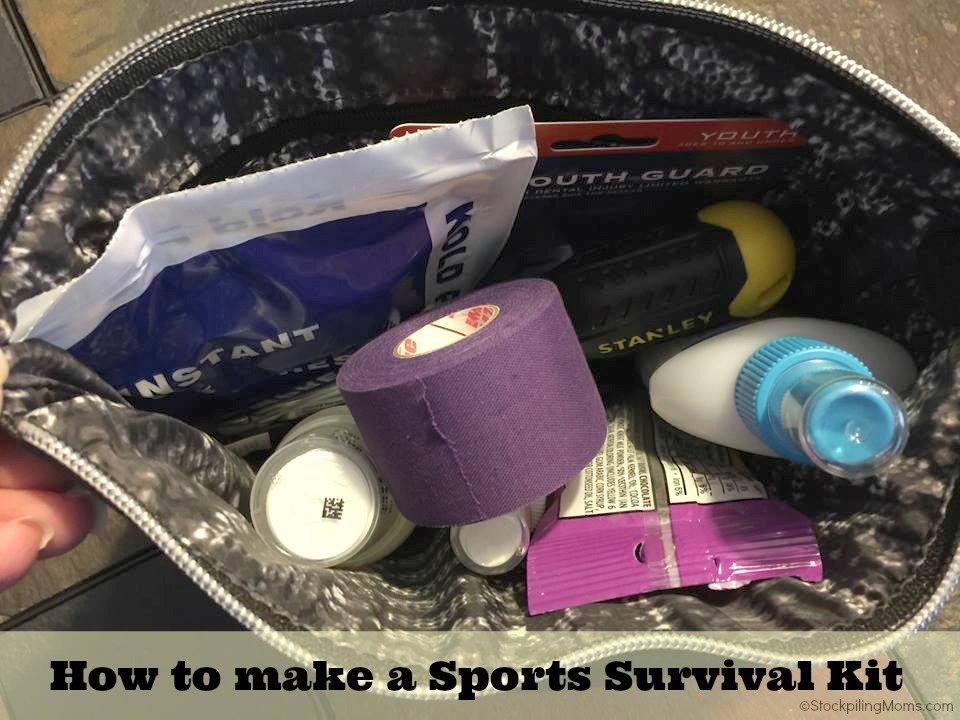 How to make a Sports Survival Kit. This is a MUST if you are a sports mom! Perfect for tournaments and away games.
