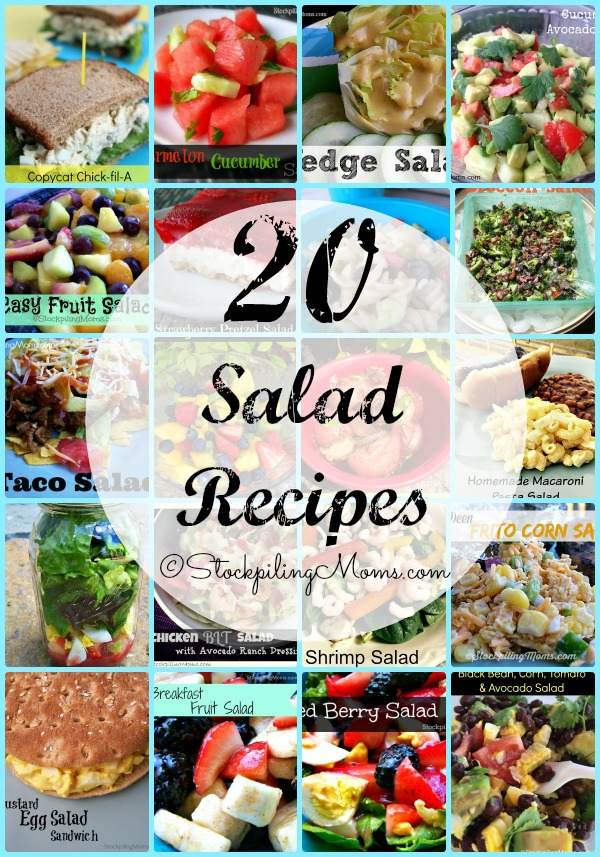 Here are 20 Salad Recipes that taste great and are easy to prepare!