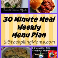 30 Minute Meal Weekly Menu Plan