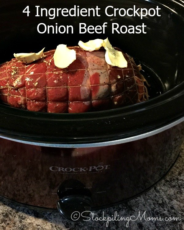 4 Ingredient Crockpot Onion Beef Roast recipe is so easy to put together in less than 5 minutes!
