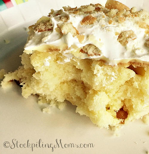 Banana Pudding Poke Cake is a delicious dessert with only 6 ingredients!