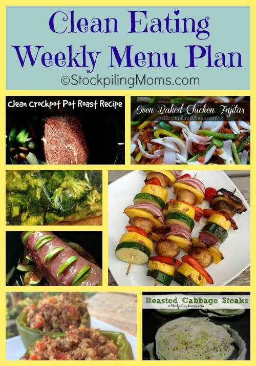 Here is a Clean Eating Weekly Menu Plan to help keep you on track for the whole week!
