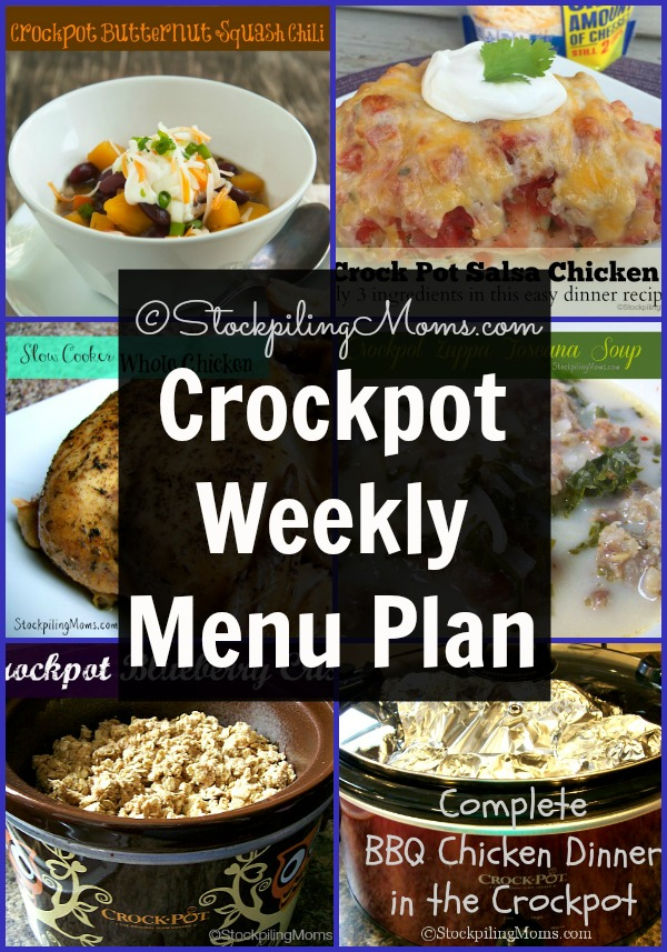 Crockpot Weekly Menu Plan to help you save time and money in the kitchen this week!