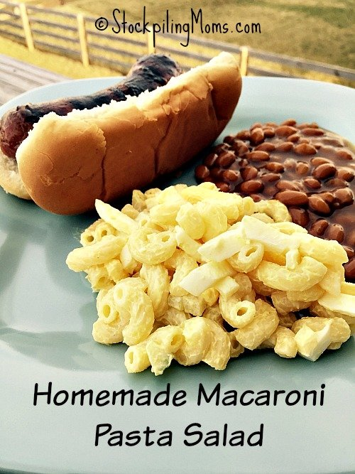 Homemade Macaroni Pasta Salad is a great side dish perfect for grilling season!