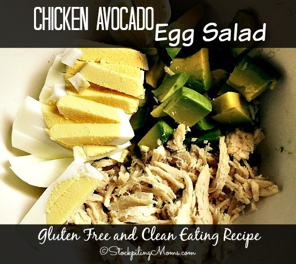 This Chicken Avocado Egg Salad recipe is gluten free and clean eating with only 5 ingredients! Only 5 minutes to make and it tastes amazing.