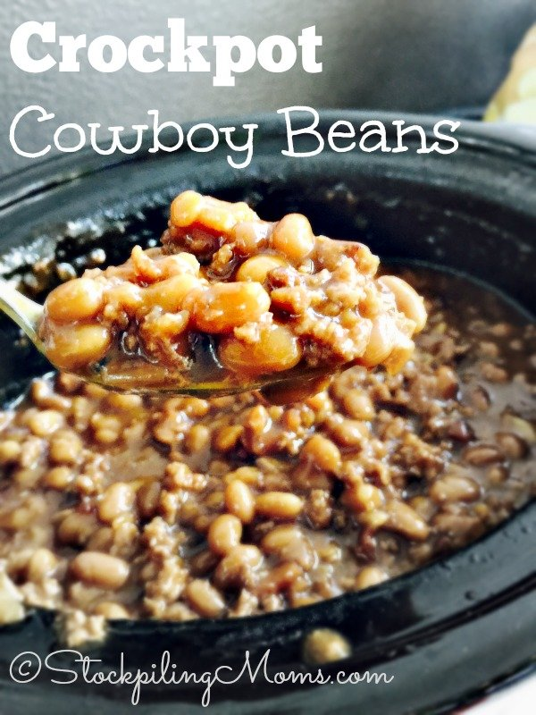 Crockpot Cowboy Beans recipe is the best and a must have at a BBQ this summer!