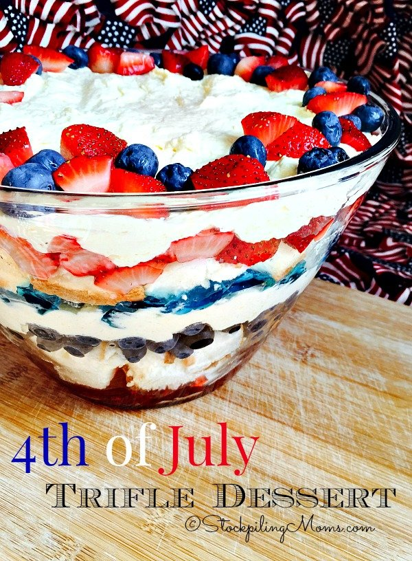 4th of July Trifle Dessert recipe is perfect for a holiday party! Kids and adults will love it.