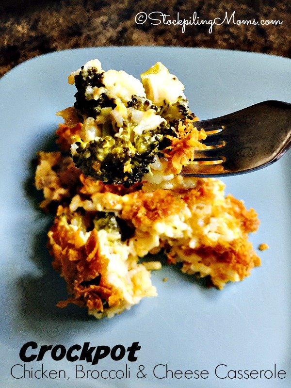 Crockpot Chicken, Broccoli and Cheese Casserole recipe is amazing! Such an easy dinner to put together in your slow cooker.