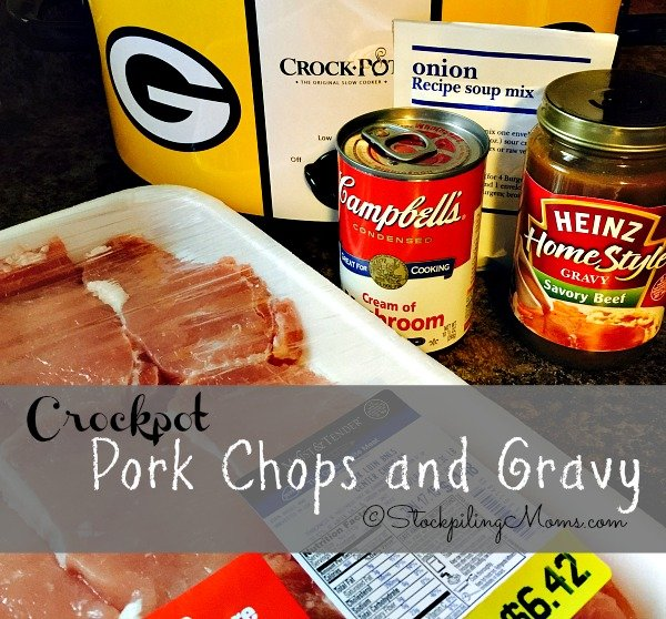 Crockpot Pork Chops and Gravy recipe is so easy with only 5 ingredients!