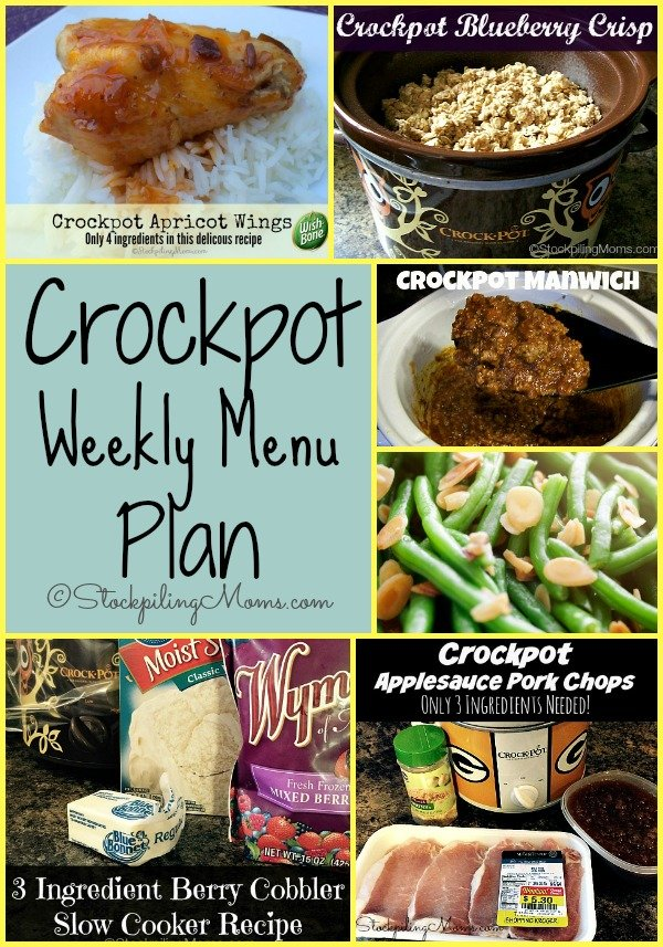 Here is a Crockpot Weekly Menu Plan to help you save time and money this week on dinners!