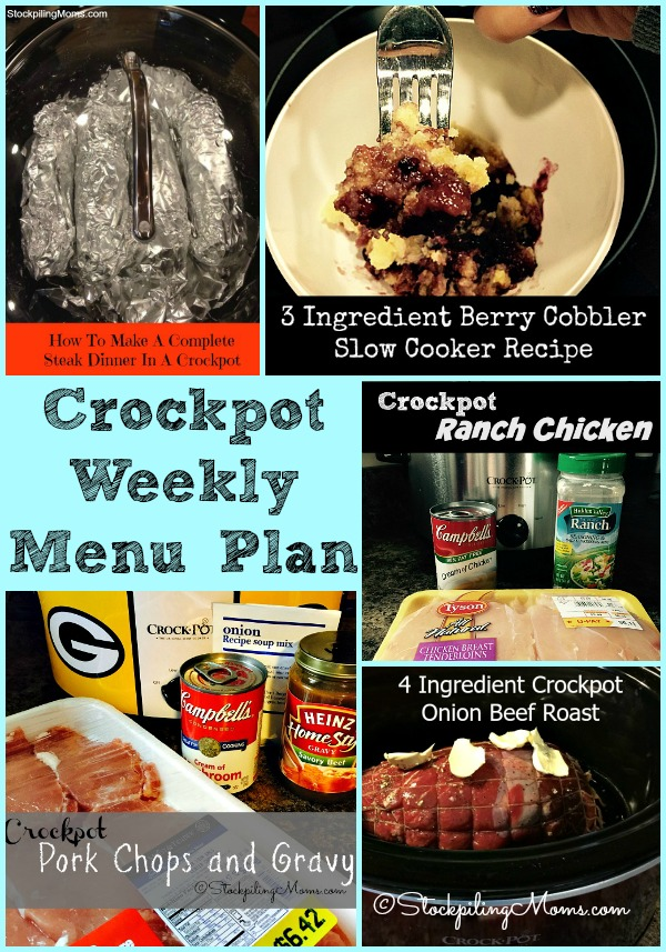 This easy Crockpot Weekly Menu Plan will help you with your dinner recipes this week!
