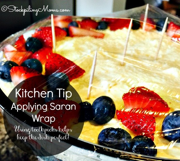 Here's a great Kitchen Tip for Applying Saran Wrap to your dishes so the cling wrap does not stick!