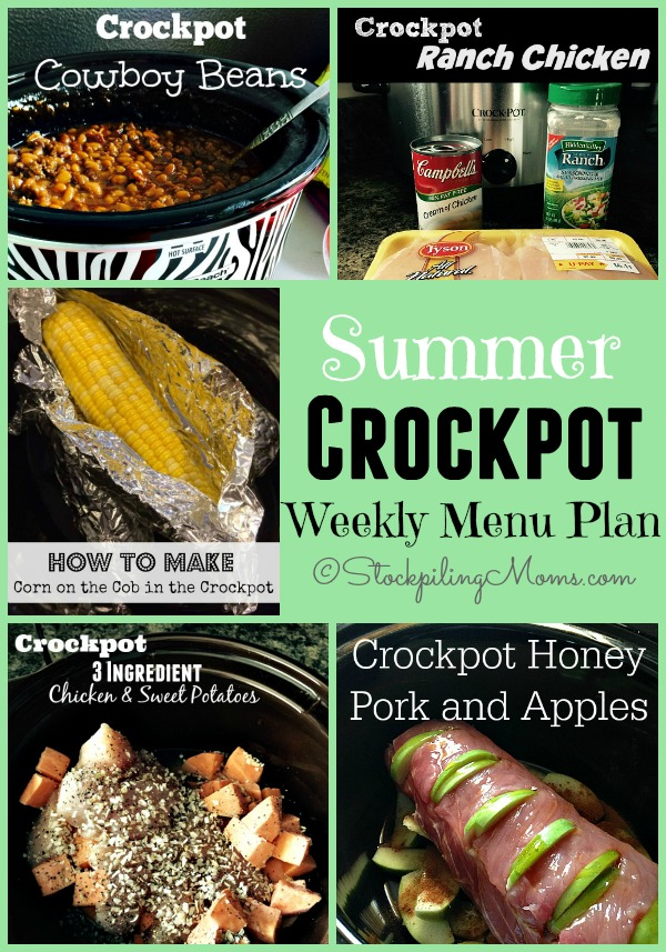 Summer Crockpot Weekly Menu Plan to help you enjoy your summer more!