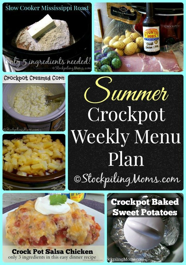 Here is a fabulous Summer Crockpot Weekly Menu Plan to help save you time and money !