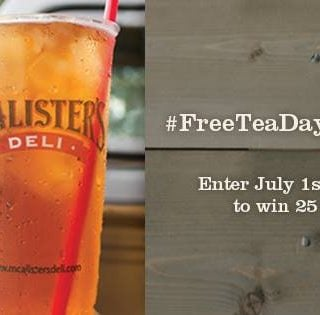 $25 McAlister's Deli Gift Card Giveaway & Free Tea Day July 23rd – CLOSED