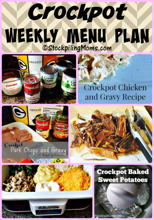 This Crockpot Weekly Menu Plan is perfect if you have a busy week ahead!  Menu planning will help save you time and money in the kitchen.