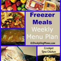 Freezer Meals Weekly Menu Plan