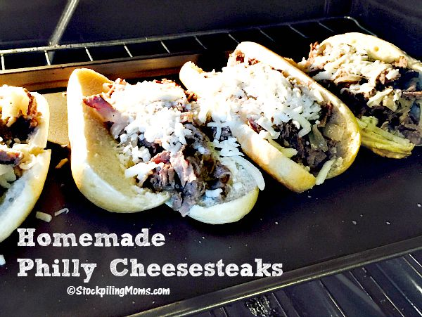 Homemade Philly Cheesesteaks with only 4 ingredients! Taste great and you can make them in less than 30 minutes.