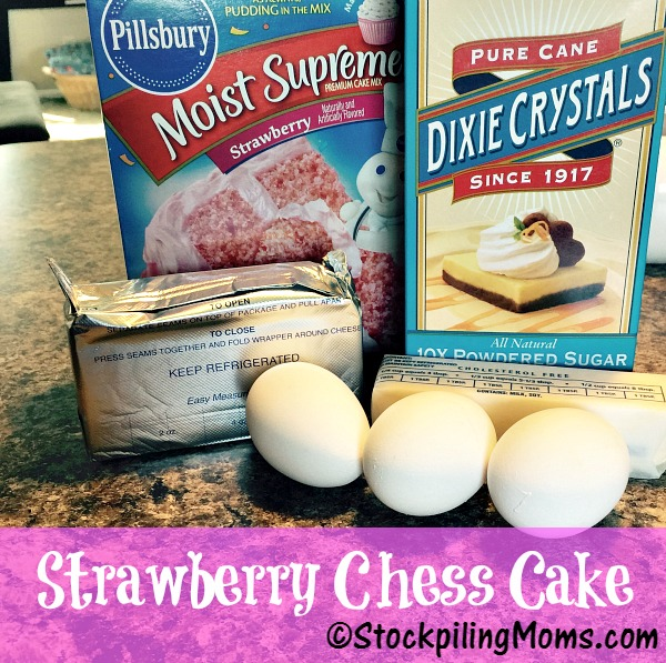 This easy, delicious Strawberry Chess Cake recipe only has 5 ingredients!