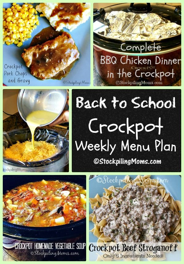 Back to School Crockpot Weekly Menu Plan to help you spend more time with your family this week!