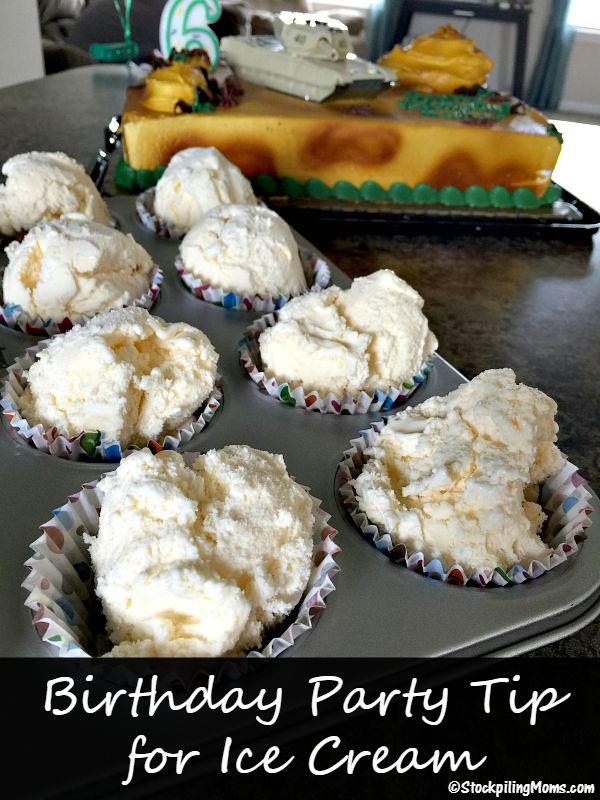 Birthday Party Tip for serving Ice Cream at a child's party or any party!