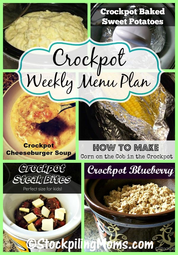 This Crockpot Weekly Menu Plan that has easy to follow recipes, will help you save time and money!