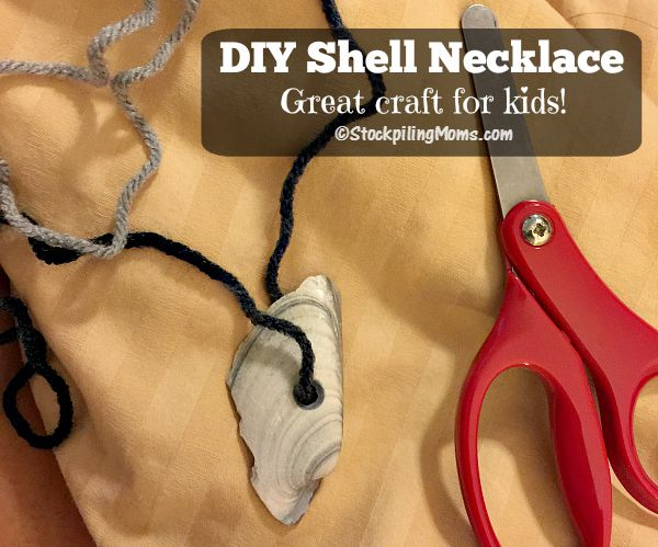 DIY Shell Necklace that is a great craft for kids to make!