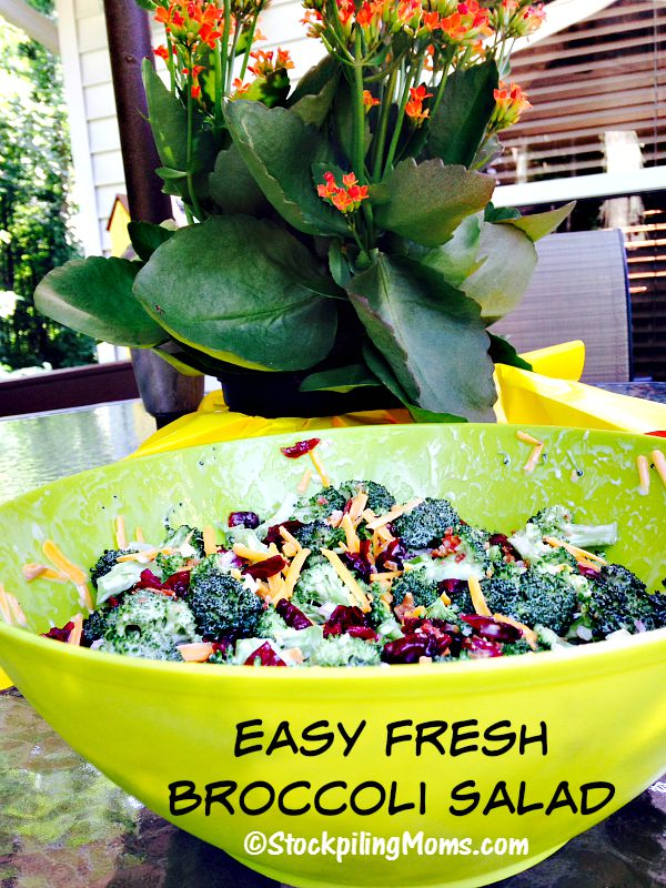 Easy Fresh Broccoli Salad is so simple to make with only 6 ingredients!