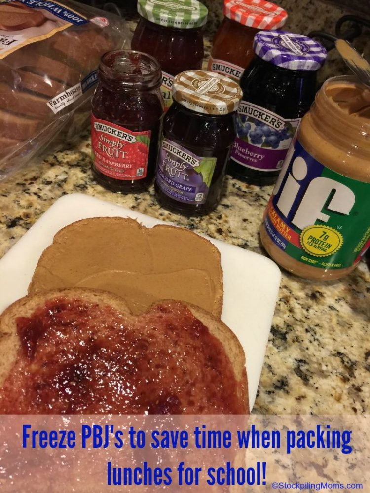 Freeze PBJ's to save time when packing lunches for school