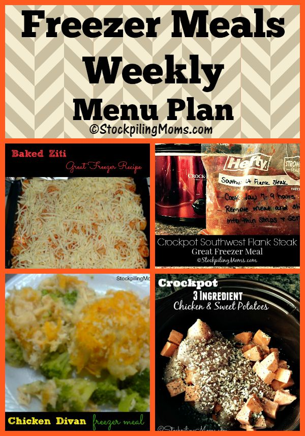 Freezer Meals Weekly Menu Plan is full of tasty dinners that you can prepare at the beginning of the week!