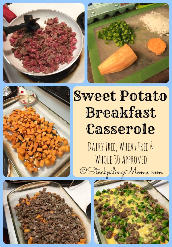 Sweet Potato Breakfast Casserole recipe is dairy free, wheat free and Whole 30 approved!
