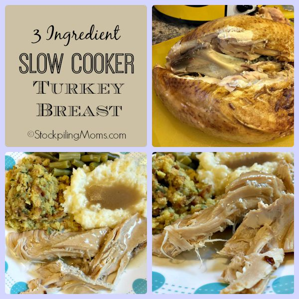 This tasty recipe for 3 Ingredient Slow Cooker Turkey Breast is full of great flavor! So easy to prepare and you end up with very tender, moist turkey.
