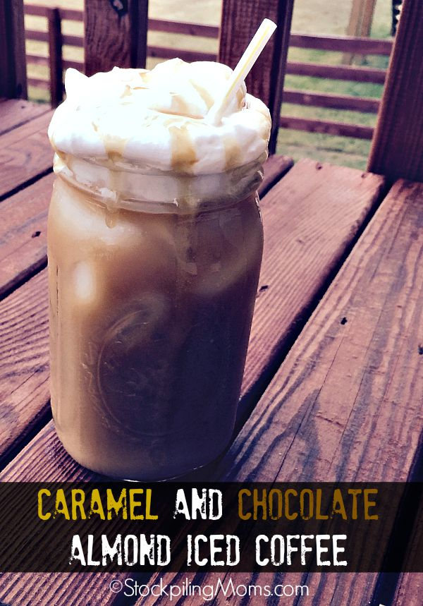 Caramel and Chocolate Almond Iced Coffee recipe is so easy to make and taste delicious!