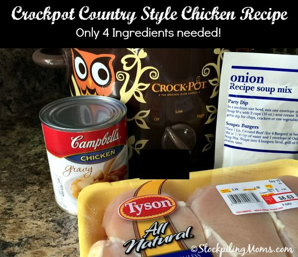 Crockpot Country Style Chicken Recipe is so tasty with only 4 ingredients needed!