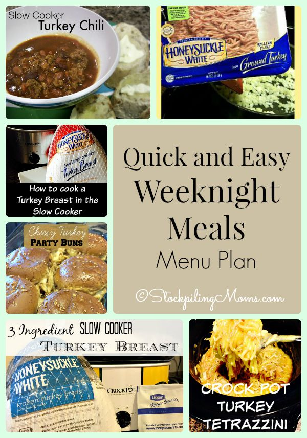 Quick and Easy Weeknight Meals Menu Plan to help save you time and money on dinners this week!
