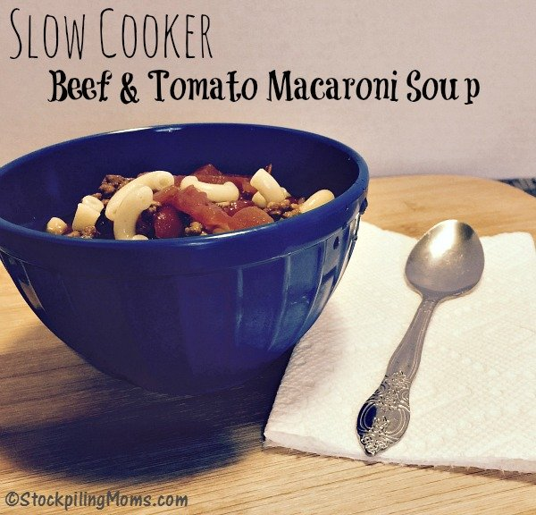 Slow Cooker Beef & Tomato Macaroni Soup is a hearty recipe full of great flavor!