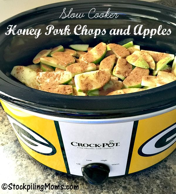 Slow Cooker Honey Pork Chops and Apples is an easy recipe with only 4 ingredients! It is gluten free, paleo and perfect for fall!