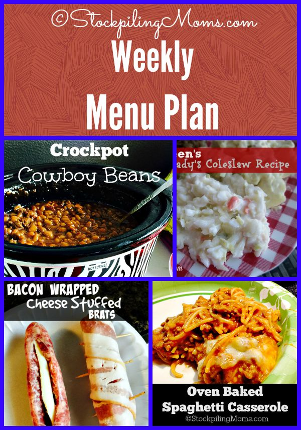 Weekly Menu Plan to help you save time and money in the kitchen!