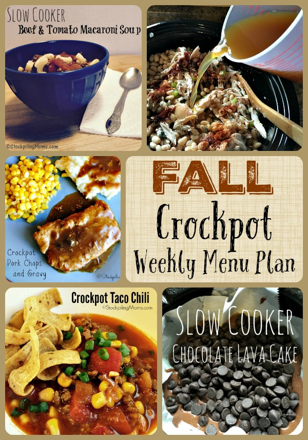 Fall Crockpot Weekly Menu Plan to help save you time and money this week!