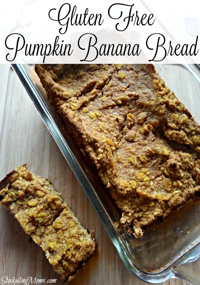 This Gluten Free Pumpkin Banana Bread is moist and delicious. Perfect for fall.