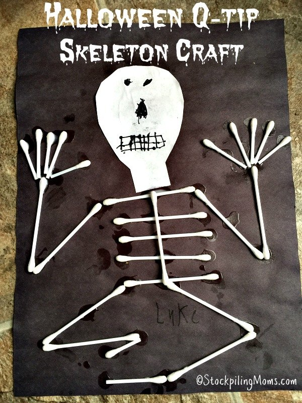 Halloween q tip skeleton craft for Q tip skeleton template