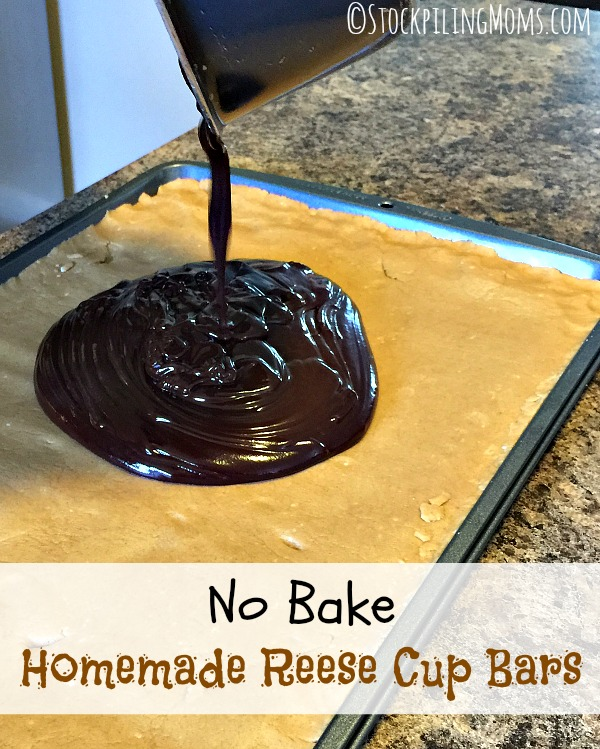 No Bake Homemade Reese Cup Bars recipe taste just like store bought! This is an amazing way to make them at home!