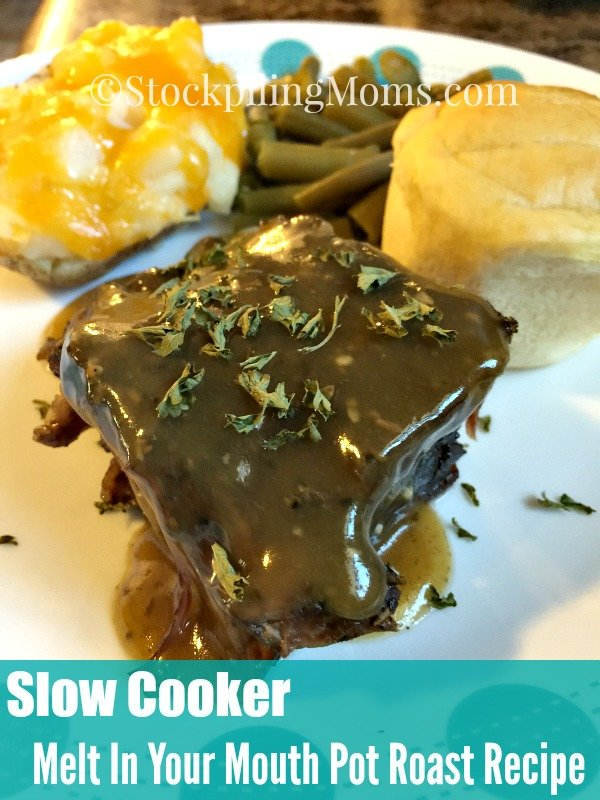 Slow Cooker Melt In Your Mouth Pot Roast Recipe is so easy to prepare with a few ingredients! Perfect comfort meal after a long day.
