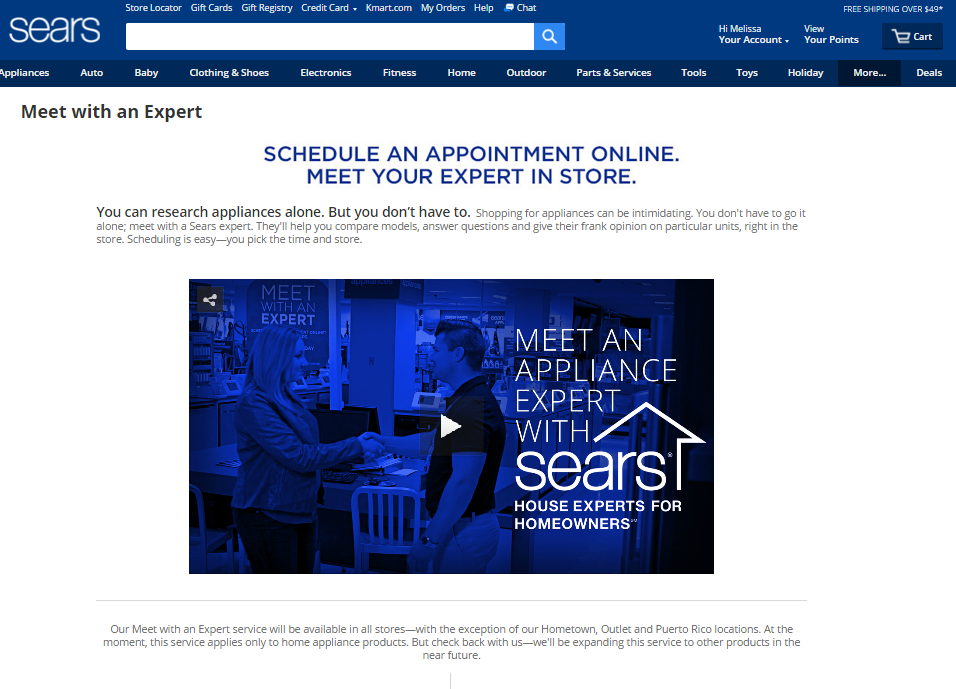Sears Introduces New Service - Meet With An Expert