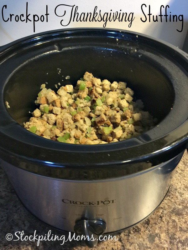 Crockpot Thanksgiving Stuffing recipe is so easy to make! This is a great way to utilize the slow cooker on Thanksgiving Day and keeps your oven available things!