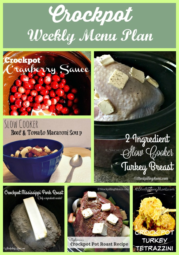 Crockpot Weekly Menu Plan including Thanksgiving dinner in your slow cookers!