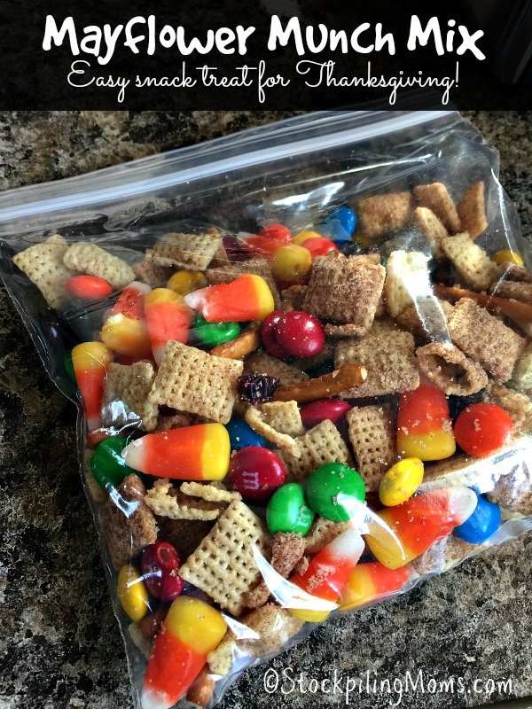 Mayflower Munch Mix is such an easy snack treat you can make for Thanksgiving!