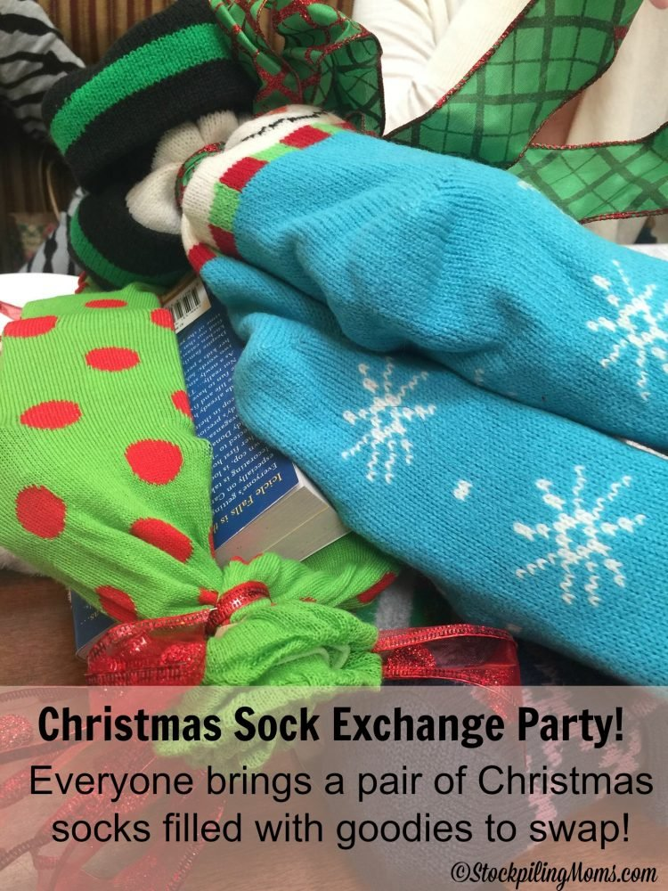 christmas sock exchange party everyone brings a pair of christmas socks filled with goodies