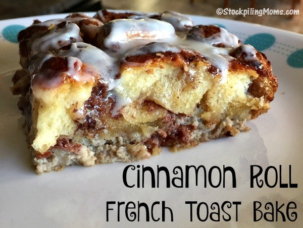 This breakfast casserole recipe for Cinnamon Roll French Toast Bake is simply amazing! Perfect to make for Christmas morning.
